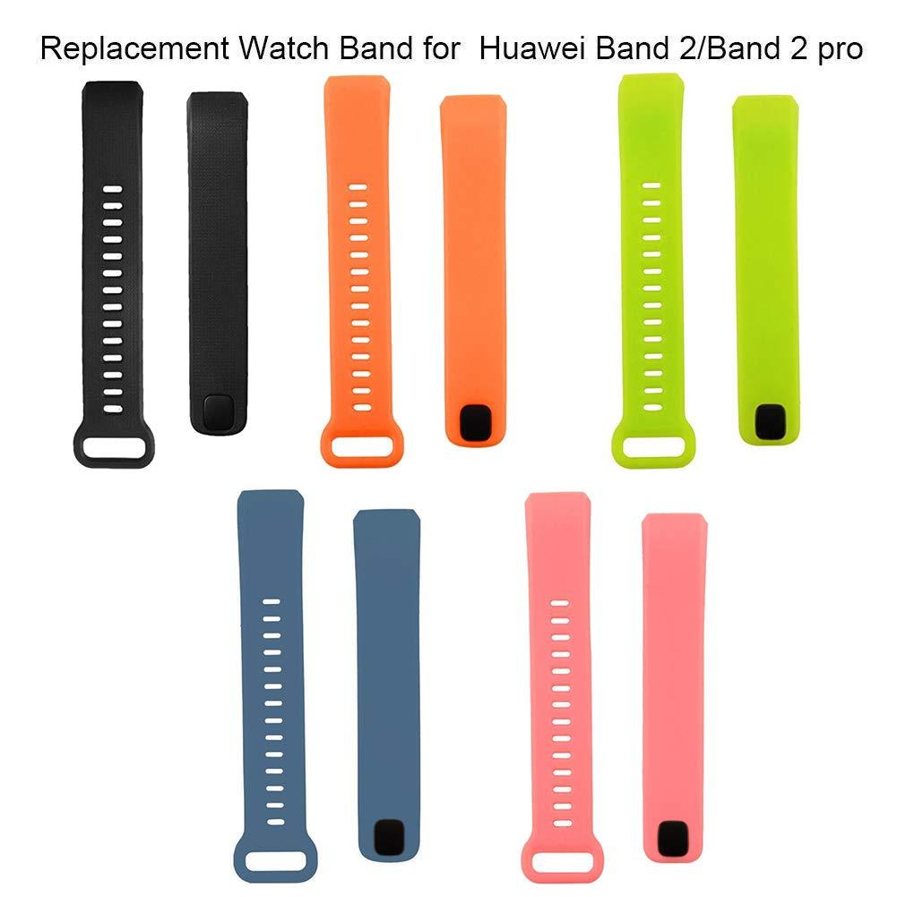 DNelo Correa de Silicona Reemplazo para la Muñeca para Huawei Band 2/2 Pro Pulsera Venda de Reloj Inteligente del Color Sólido - Negro
