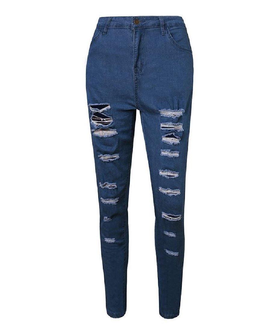 DoufineWomen Doufine Women's Tights Capris Ripped Holes Fit Long Pants Tights Jeans Pants Blue XS by DoufineWomen (Image #1)