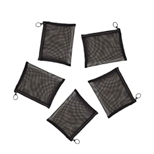 "Patu Mini Zipper Mesh Bags, 4"" x 5"", Size S / A7, 5 Pieces, Beauty Makeup Lipstick Cosmetic Accessories Organizer, Small Travel Kit Storage Pouch, Black"
