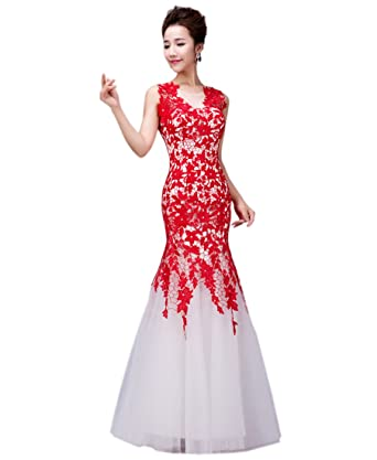 Felaladress Womens Elegant Long Red Lace Size 6-30 Evening Prom Dresses