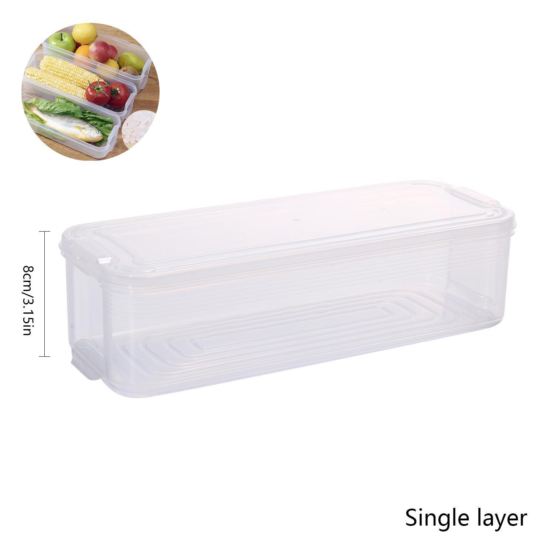 AOLVO Plastic Food Storage Container with Lid, Refrigerator Storage Box, Storage Bins for Kitchen Fridge Cabinet Freezer Desk Organizer