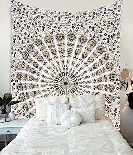 Gold and Black Tapestry Wall Hanging Mandala Tapestries Indian Cotton Bedspread Picnic