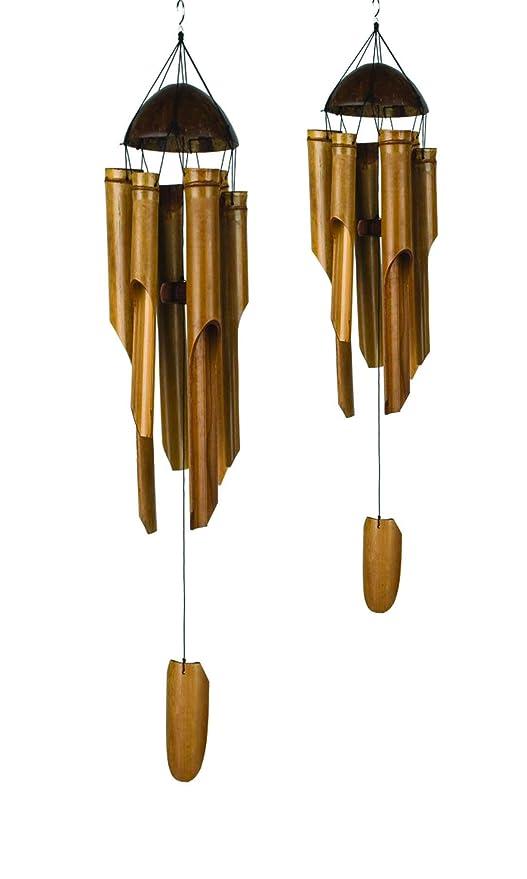 Set Da Giardino In Bamboo.Vie Naturals Bamboo Wind Chimes Set Da 2 Large 50 Cm Small 30