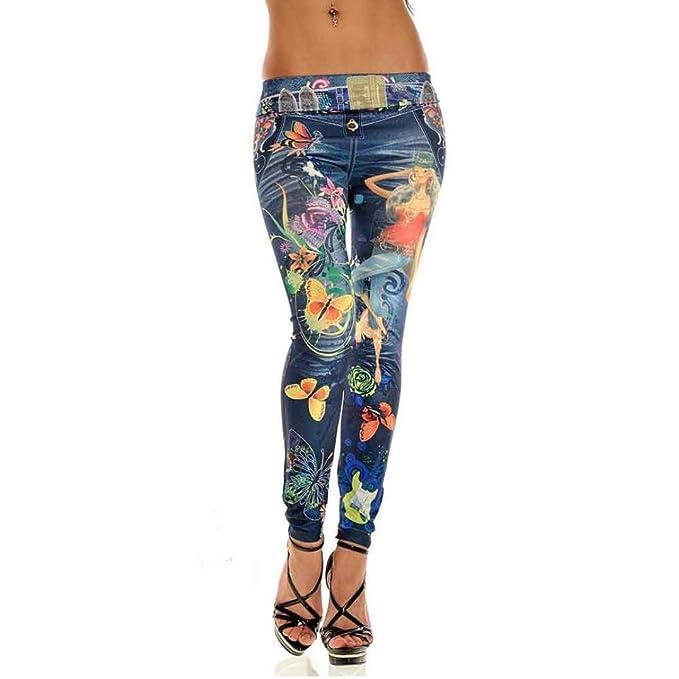 TWBB Damen Jeans Drucken dünn lang Elastische Hose mit tiefem Bund (Freie  Größe, Blau aa5742e707