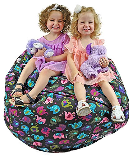 Jazzoo EXTRA LARGE 38'' Stuffed Animal Storage Bean Bag, Highly Durable Cotton Canvas with a Zinc Alloy Zipper, Elephant Print by Jazzoo