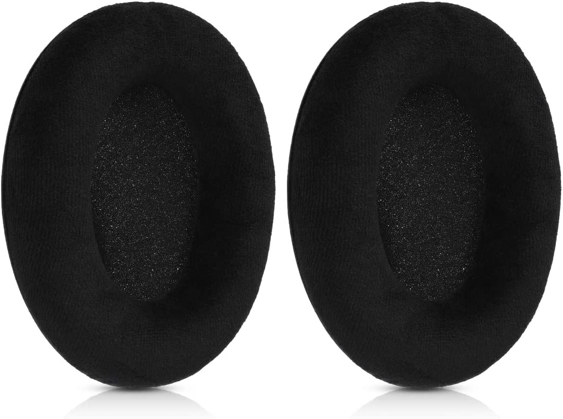 kwmobile 2x Earpad Compatible with Sennheiser HD515 Replacement Velour Earpad Cushion for Headphones HD555 Black HD595 HD518