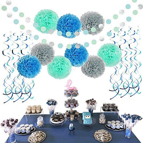Boy Party Mints - Tissue Paper Flowers Pom Poms Silver Glitter Circle Garland Hanging Swirls Party Decorations For Baby Shower, Birthday Boy, Bridal Shower, Bachelorette, Wedding Nursery Room Decor(aqua blue-mint-grey)