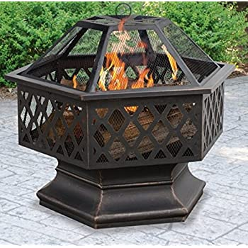 Amazon.com : Fire Pits Outdoor Patio Hexagon Shaped ... on Zeny 24 Inch Outdoor Hex Shaped Patio Fire Pit Home Garden Backyard Firepit Bowl Fireplace id=35662