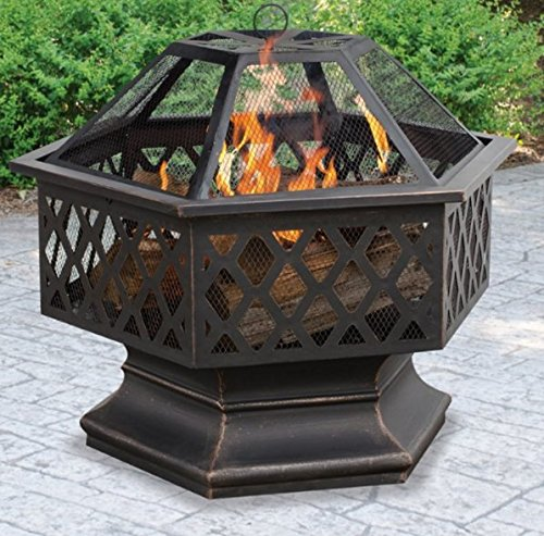 Fire Pits Outdoor Patio Hexagon Shaped Lattice, Bronzed, With Spark Guard, Wood Grate ()
