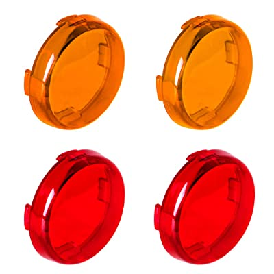 NTHREEAUTO Bullet Turn Signal Light Lens Cover Compatible with Harley Sportster Street Glide Road King Softail, Full Set, Amber, Red: Automotive
