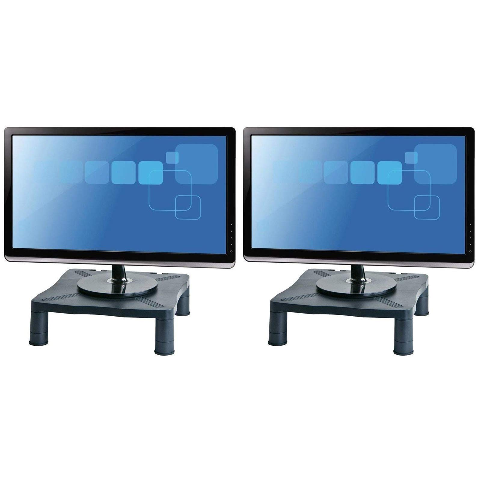 Halter Height Adjustable Monitor Stand - Printer Stand - Desk Shelf - Monitor Riser For Screens Up To 24'' (24 Inches) - 2 Pack