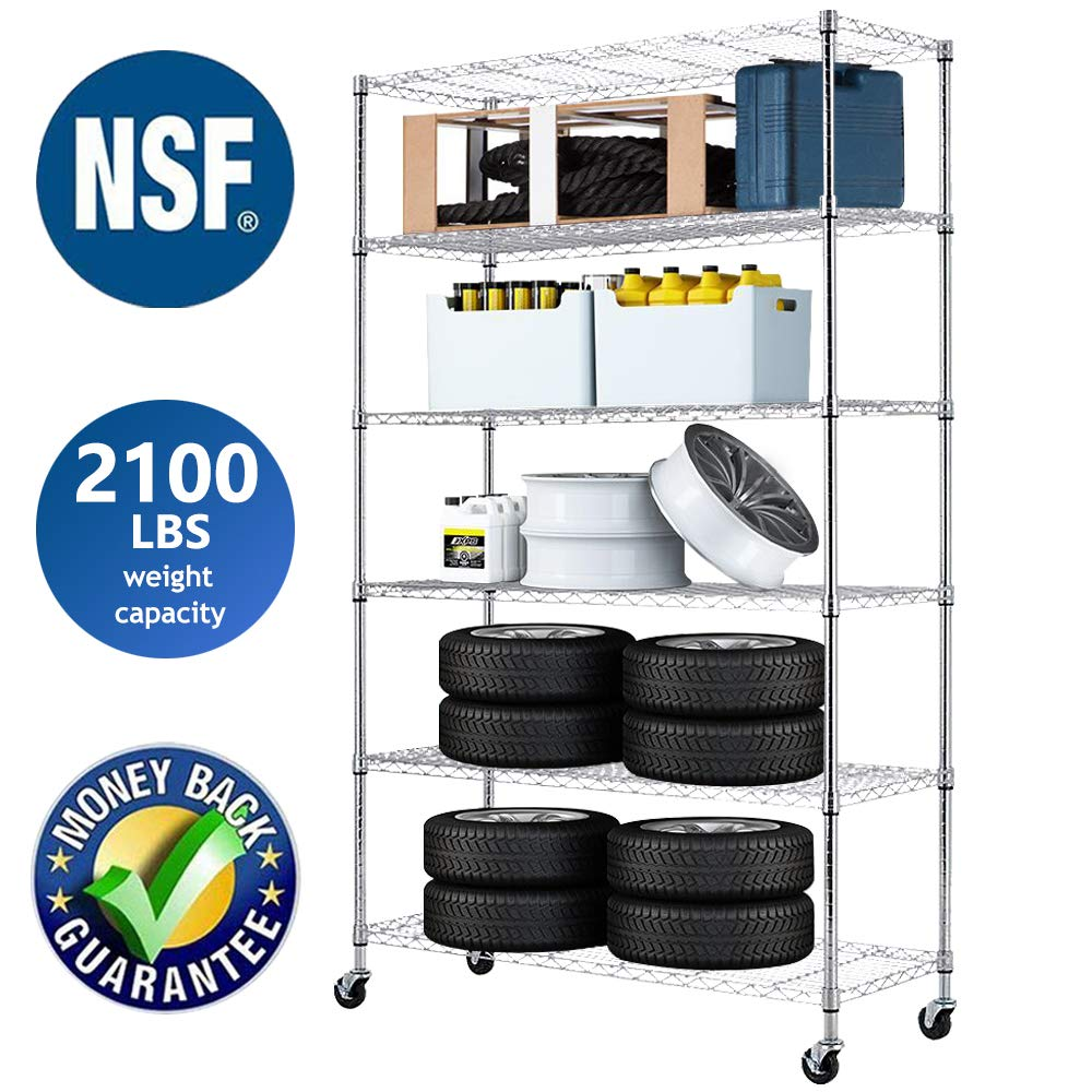 Wire Shelving Unit NSF Heavy Duty Office Basement Kitchen Adjustable Metal Storage Shelves Rack with Wheels 48''x18''x82'' 6 Tier Shelf Commercial Grade Utility Garage Shelving Unit by Dkeli
