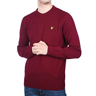 902b4fdf5a74 Mens Lyle   Scott Lambswool Claret Jug Knitted Jumper - L  Amazon.co.uk   Clothing
