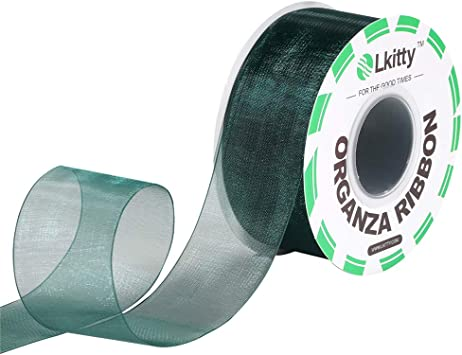 Premium Quality Shimmer 100/% Polyester Fiber Width:38mm Lkitty 1-1//2 inch x 50yd//Roll Fabric Chiffon Sheer Organza Ribbon
