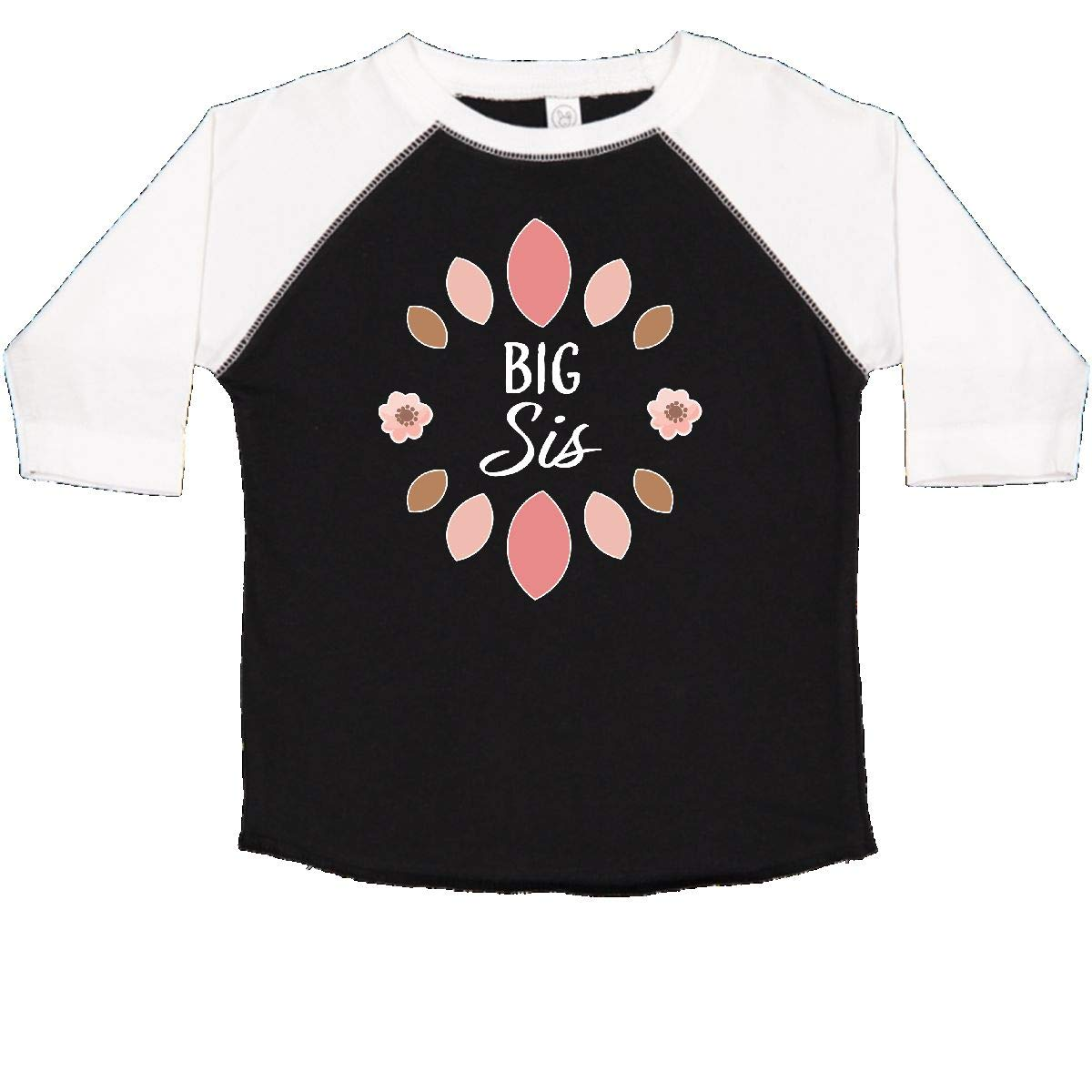 inktastic Big Sis with Pink Flowers Toddler T-Shirt
