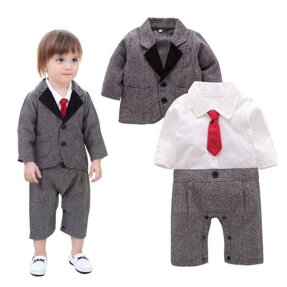Chaleco Rayado de la Corbata del niño del bebé del niño 3pcs ...