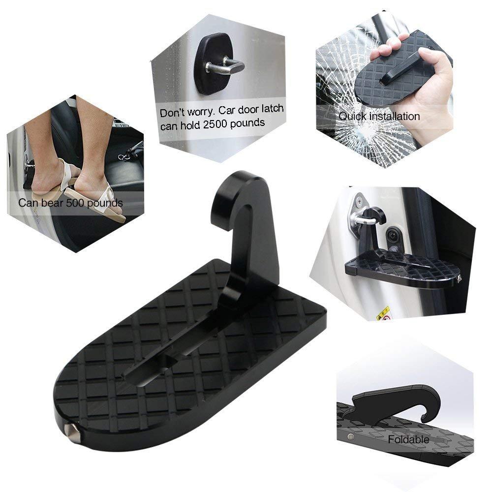 samatoo車ドアステップVehicle Folding Ladder足ペグに簡単アクセス車屋上with Safety Hammerジープ車SUV   B07F43539R