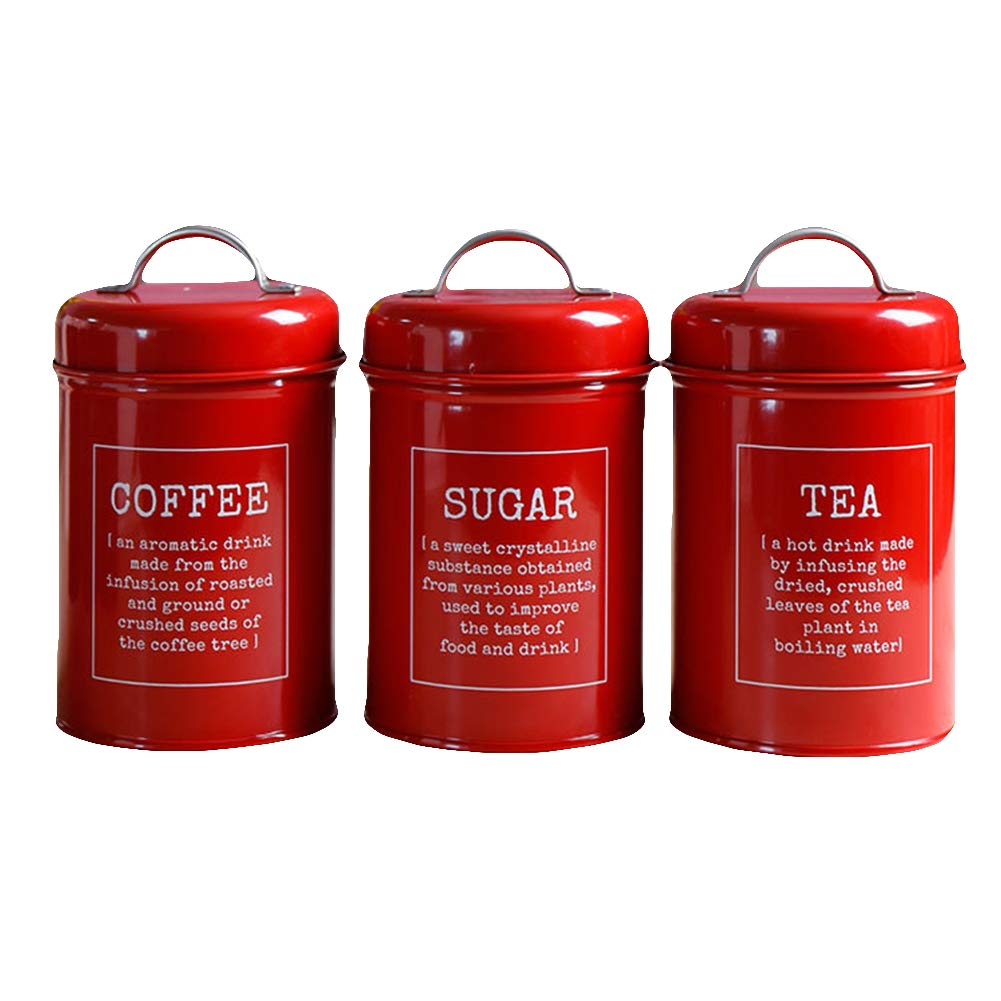 ink2055 3Pcs/Set Spice Jar Sugar Coffee Tea Canister Food Storage Home Kitchen Accessory Red