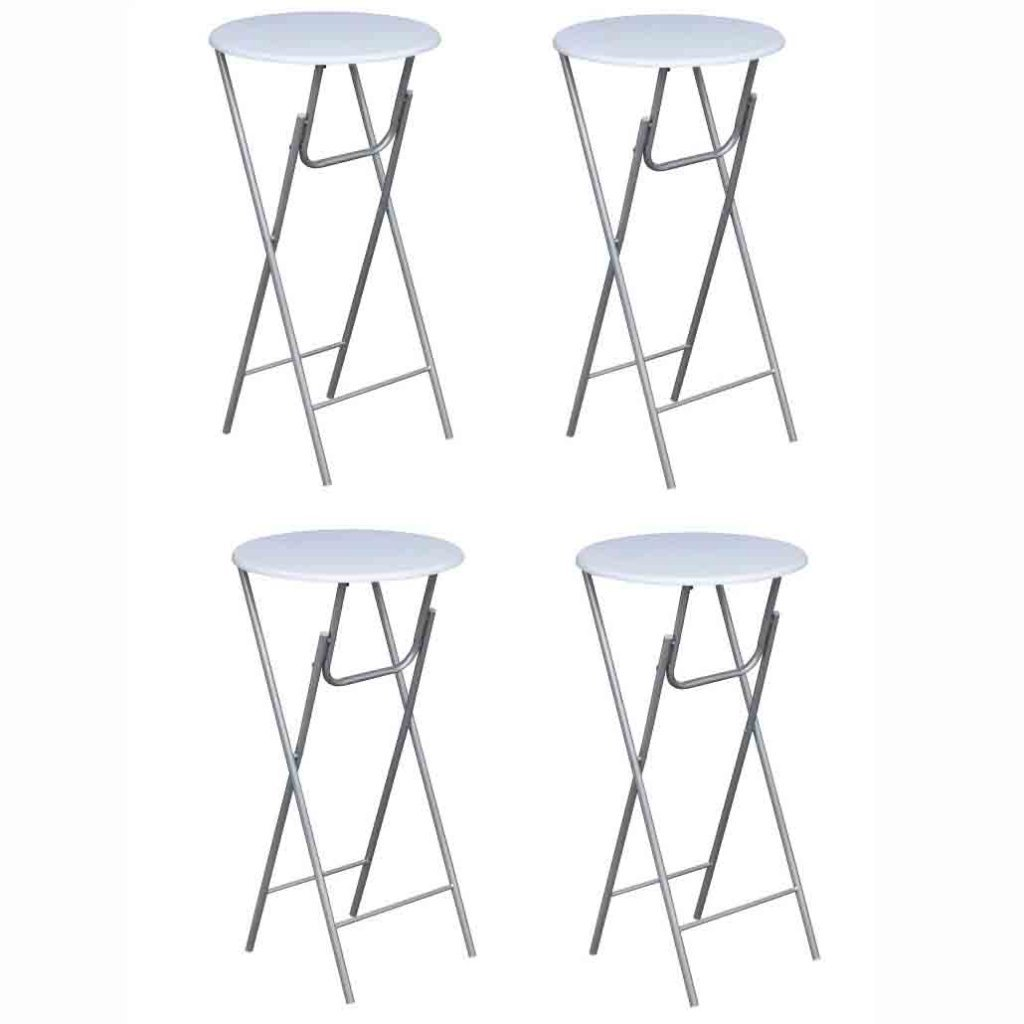 Festnight 23.6'' Folding Round Bar Tables with Iron Legs, Set of 4, Cream White