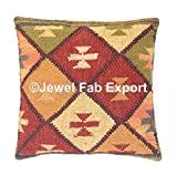 Indian Set Of 5 ,18x18'' Vintage Ethnic Kilim Rug Cushion HAndwoven Jute Cuashion Decorative Cushion Cases Sofa Hippie Pillow Sham Living Room Pillow Throw Handmade Jute Boho Sham Throw