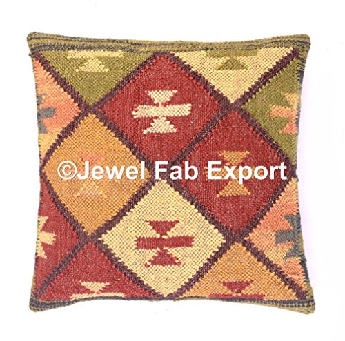 Indian Set Of 5 ,18x18'' Vintage Ethnic Kilim Rug Cushion HAndwoven Jute Cuashion Decorative Cushion Cases Sofa Hippie Pillow Sham Living Room Pillow Throw Handmade Jute Boho Sham Throw by Jewel Fab Art