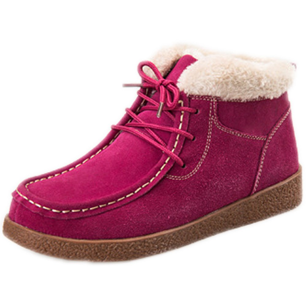 Barerun Womens Leather Snow Boots Lace up Low Top Winter Shoes with Fur Lining