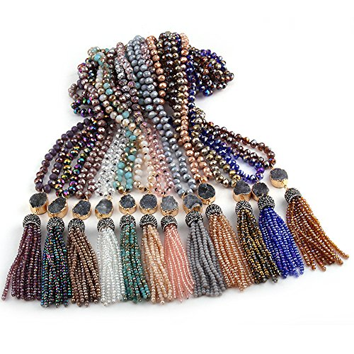 CAIYCAI Bohemian Tribal Jewelry Multi Glass Knotted Link Crystal Tassel Necklaces Women Ethnic Necklace Beige 90cm