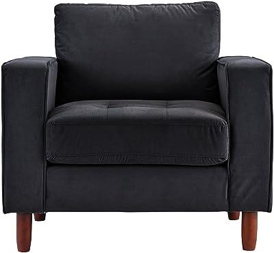 Mid Century Modern Tufted Velvet Armchair, Living Room Chair (Black)