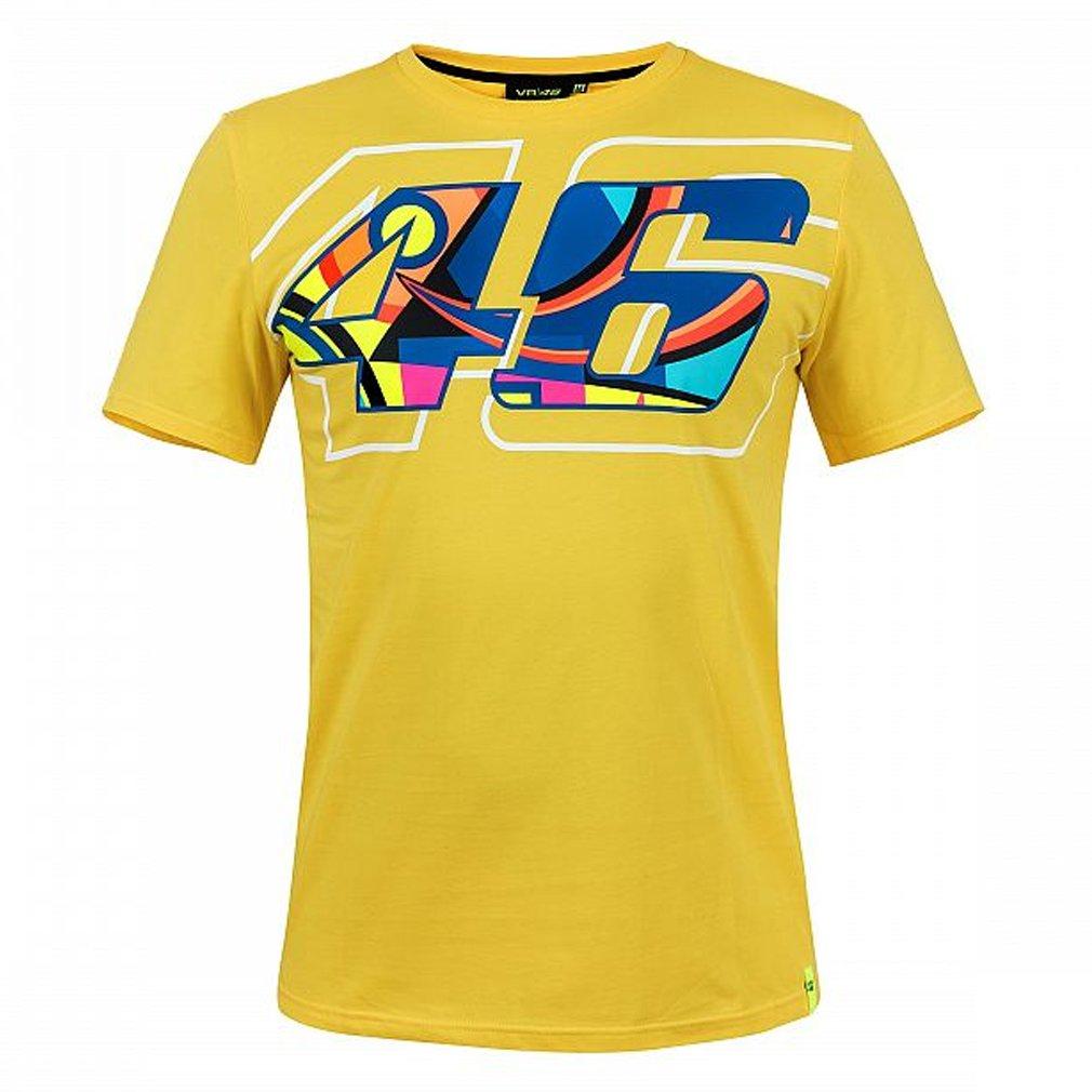 Valentino Rossi VR46 Moto GP Helmet Print Amarillo Camiseta Oficial 2018 VR/46