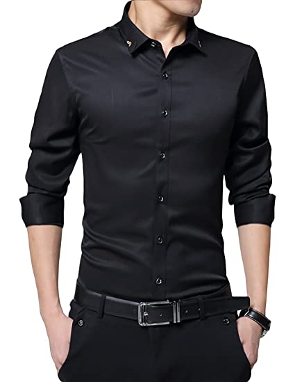 9cf3c5d3463 JHVYF Mens Slim Fit Shirts Long Sleeve Button Down Dress Shirts Black US  2XS(Asian