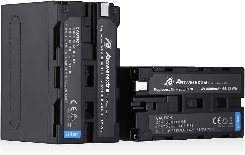Powerextra Sony NP-F970 NP-F960 NP-F930 NP-F950 Sony Cámara 2 x Baterías 8800mAh Sony DCR-VX2100 DSR-PD150 DSR-PD170 FDR-AX1 HDR-AX2000 HDR-FX1 HDR-FX7 HDR-FX1000 HVL-LBPB