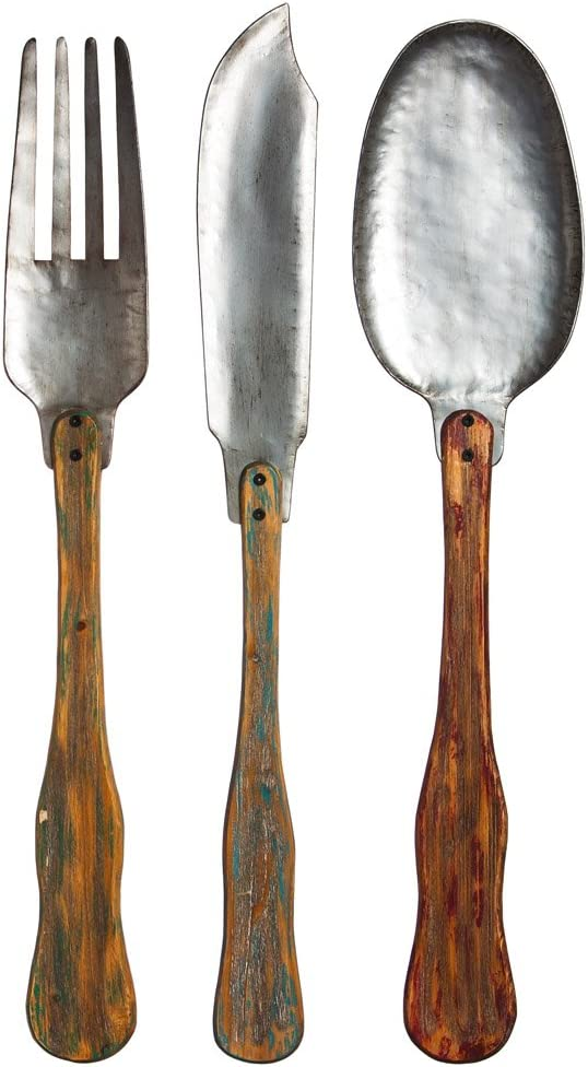 Amazon Com Cape Craftsmen Vintage Metal And Wood Knife Fork And Spoon Wall Decor Set Of 3 Home Kitchen