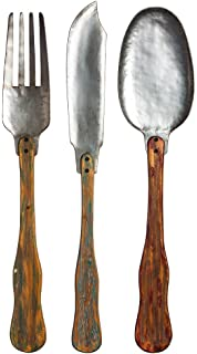 Knife, Fork, U0026 Spoon Set Of 3 Metal And Wood Wall Decor
