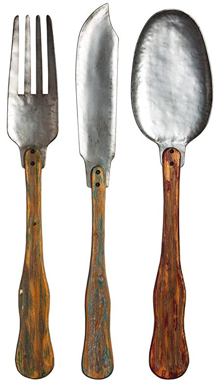 Amazon.com: Knife, Fork, & Spoon Set of 3 Metal and Wood Wall ...