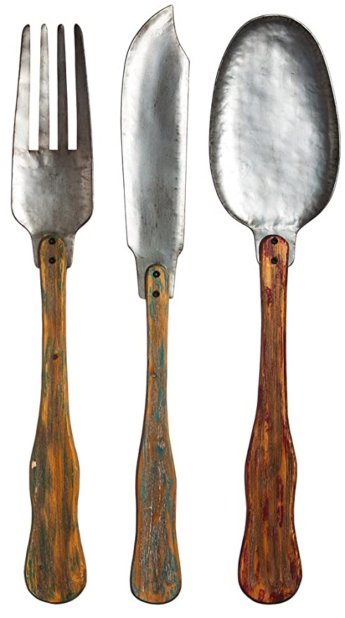 Vintage Metal And Wood Knife Fork And Spoon Wall Decor Set Of 3