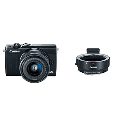 Canon EOS M100 Mirrorless Camera w/ 15-45mm Lens - Wi-Fi, Bluetooth, and  NFC enabled (Black) + Canon EOS M Mount Adapter