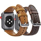 KADES Compatible for Apple Watch Band Genuine Leather Replacement Strap Compatible for Apple Watch Series 4 44mm & Series 3/2/1 42mm, Brown & Coffee