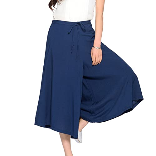 Aivtalk - Pantalones de Pierna Ancha para Mujer Pantalones Anchos Fluidos Palazzo Pantskirt Oficina ...