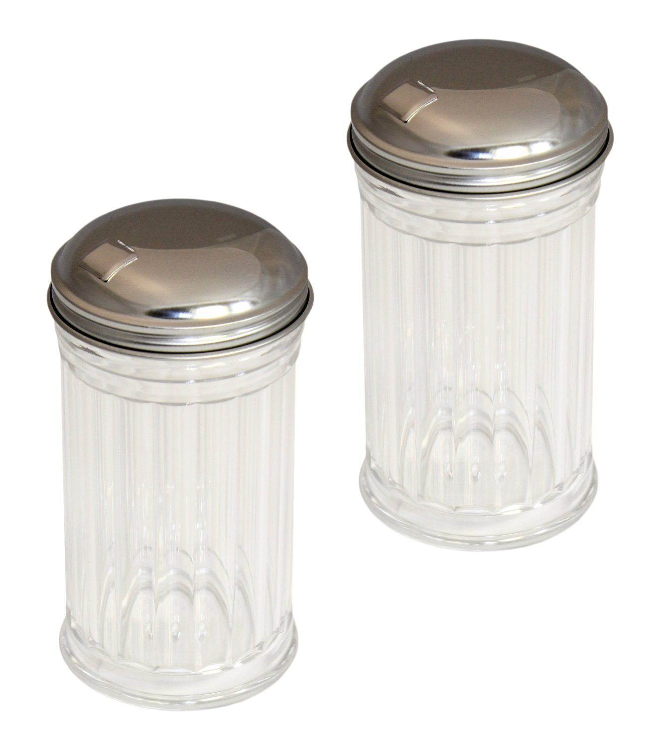 Set of 2 Clear Plastic Sugar Shakers with Stainless Steel Side Flip Pouring Cap