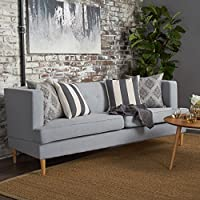 Mason Mid Century Modern Fabric Sofa (Light Grey)