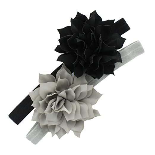 My Lello Petal Flower Headbands Girls Toddler Mixed Colors 2-Pack  (Black Gray 2650eff2580