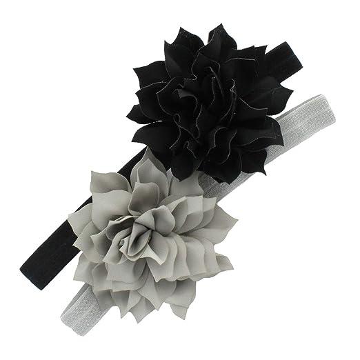 6ce42c8f2f4 My Lello Petal Flower Headbands Girls Toddler Mixed Colors 2-Pack  (Black Gray