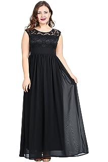 362ca09bc7df Kyzikos Woman's Plus-Size Angelino Sleeveless Lace Maxi Evening Dress