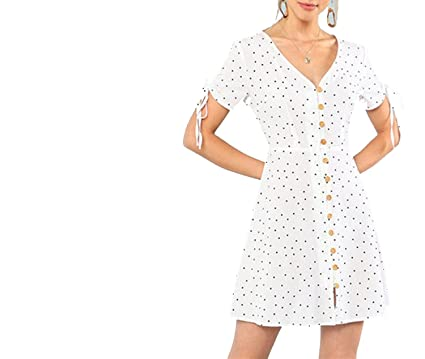 6768f5c00217 Unique-Shop dresses V Neck High Waist Dress 2018 Summer Women White Beach  Vacation Polka Dot Drawstring Short Sleeve at Amazon Women s Clothing store