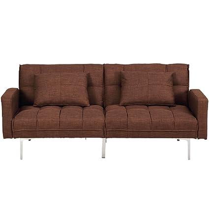 Fine Amazon Com 70 Brown Linen Convertible Futon Sofa Bed Pdpeps Interior Chair Design Pdpepsorg