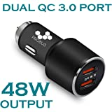 Probus Dual USB Quick Charge 3.0 Qualcomm Certified Car Charger [4X Faster Charging] [7.2 Amp] [Max Output 48W] [Metal Body] - Black