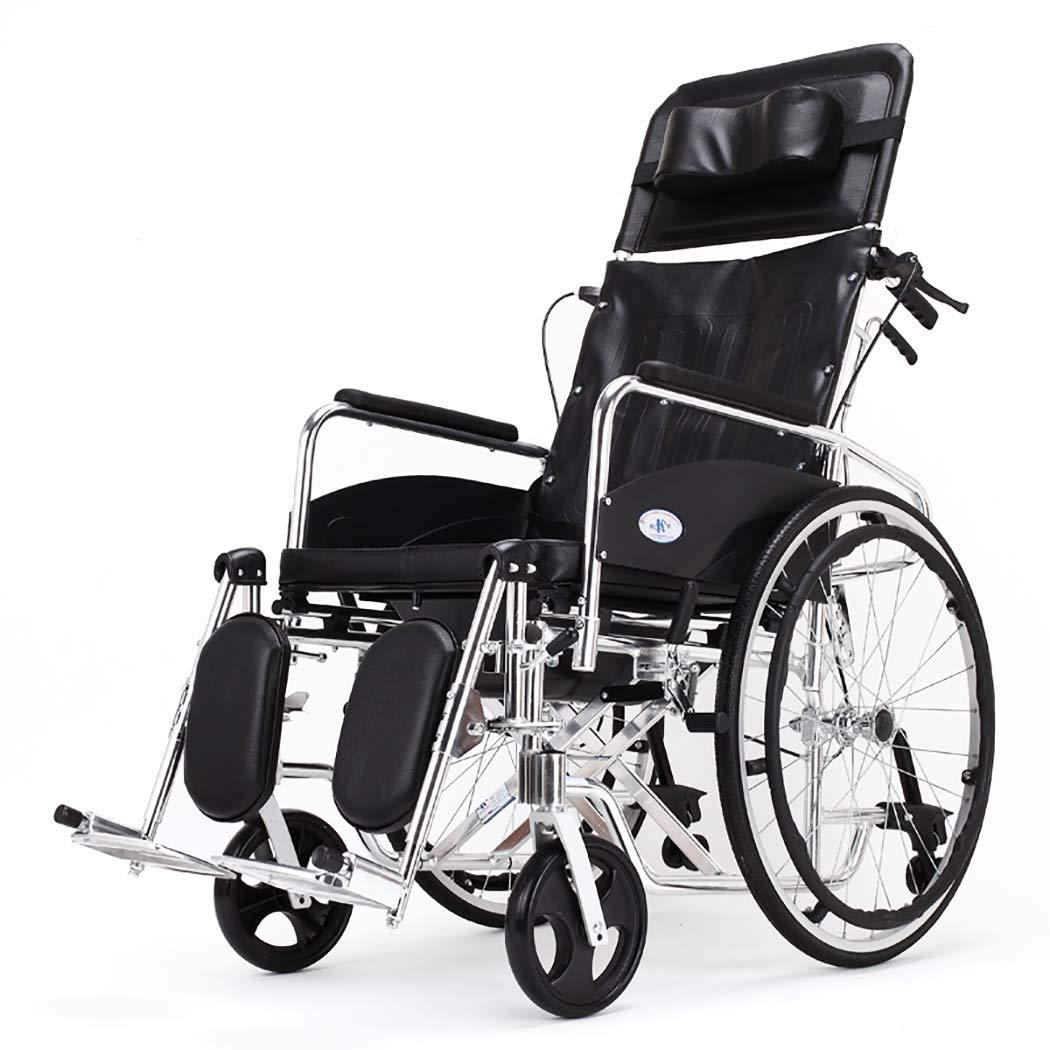 【在庫一掃】 HSBAIS ドライブメディカルトランスポート車いす軽量折りたたみ、アルミニウム合金製のエレベイティングレッグは Seat、簡単に移動できます,black_18