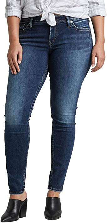 Womens Plus Size Suki Curvy Fit Mid Rise Straight Leg Jeans Silver Jeans Co