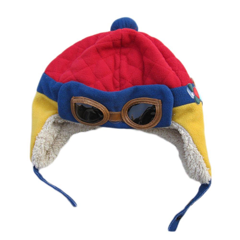 Hosaire 1X Sombreros y Gorras para Bebés Niña Niño Gorro de Aviador para bebés niños, cálido, diseño con de Gafas de protección marrón marrón Maravilloso Regalo para su bebé (Azul