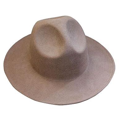 3b04d77f4c905 ByTheR Modern Classic Wide Brim Wool Felt Chic Mountain Fedora Hat Beige